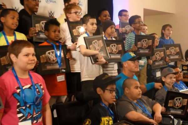 John Cena Wrestlemania 31 Make A Wish Pizza Party Circle of Champions Tech Museum