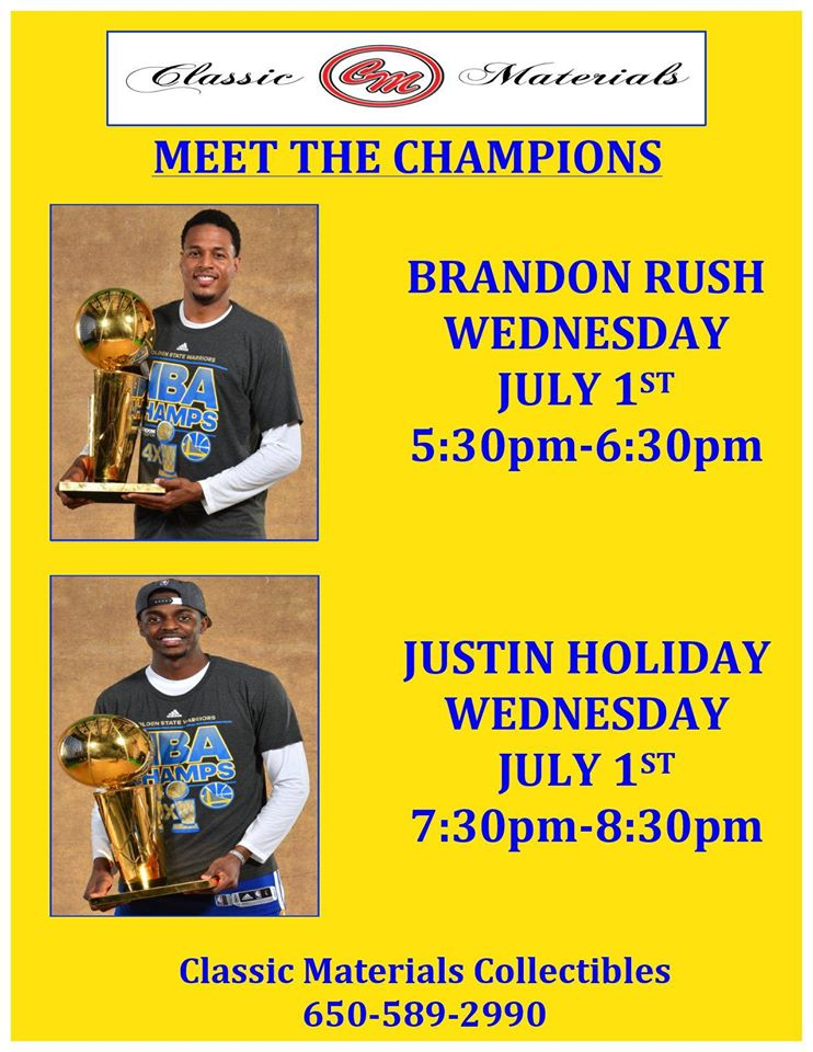 Classic Materials Brandon Rush and Justin Holiday Autograph Signings