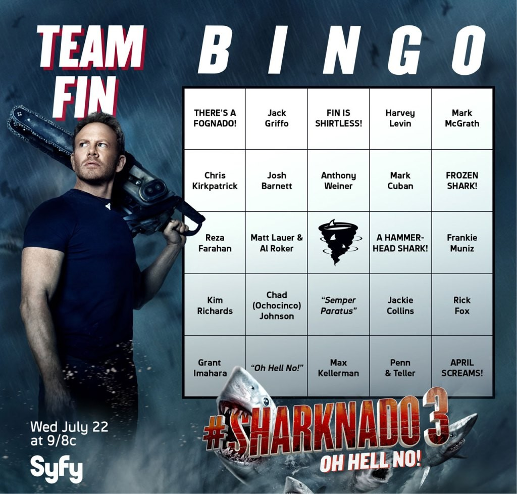 Sharknado 3 Cameo Bingo Cards