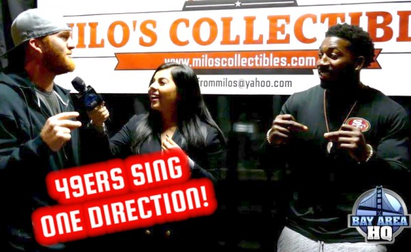 Bruce Miller Kendall Gaskins San Francisco 49ers Interview One Direction 2015 at Milos Collectibles