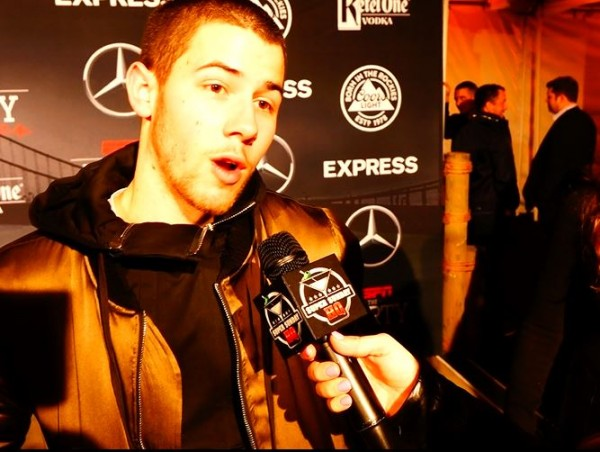 Nick Jonas ESPN Super Bowl Party Pink Tuxedo