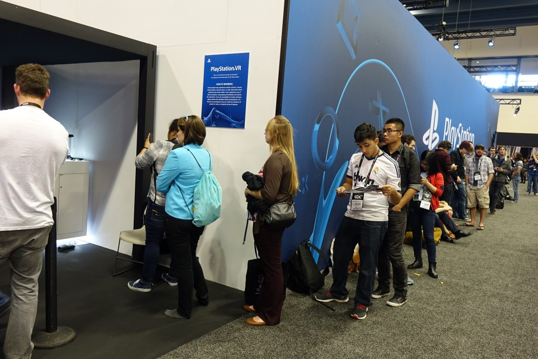 The line to try out Playstation VR