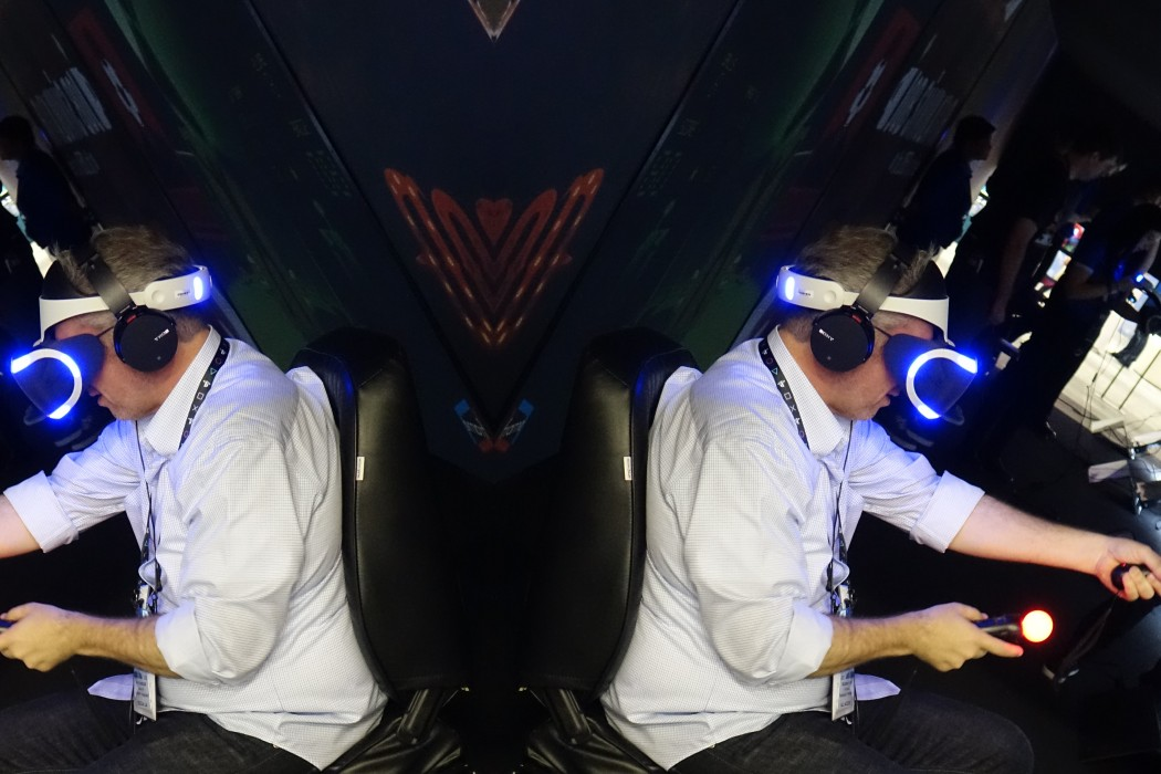 An attendee tries out the Sony Playstation VR  - PreOrders start Tuesday