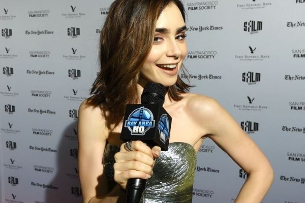 Lily Collins Interview Rules Dont Apply Red Carpet 2016 San Francisco Bay Area HQ Warren Beatty Fashion
