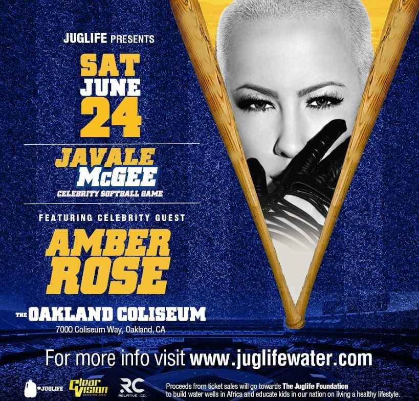 Amber Rose Marshawn Lynch Javale Mcgee Celebrity Softball Juglife Water Golden State Warriors Oakland