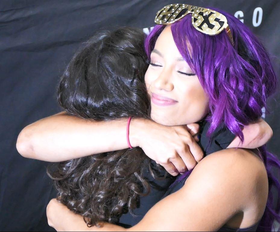 Sasha Banks WWE Hugs Little Girl SDCC 17 San Diego Comic Con Panel