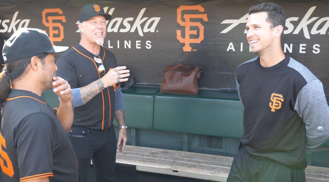 Metallica Buster Posey Talking 2017 San Francisco Giants James Hetfield Kirk Hammett Metallica Night Rehearsal SF