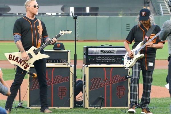 Metallica Star Spangled Banner 2017 San Francisco Giants James Hetfield Kirk Hammett Metallica Night Rehearsal Onfield